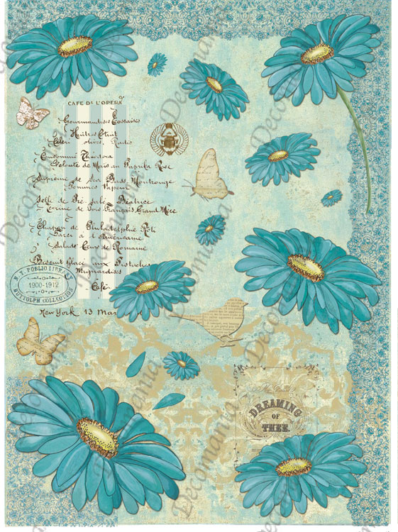 5381 Fiori gerbere color tiffany e scritte mix media